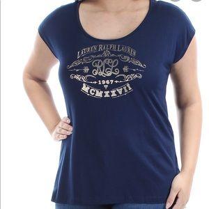 Lauren Ralph Lauren Scoop Neck, Gold Logo Top